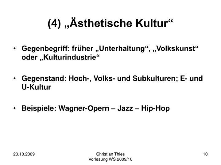 """(4) """"Ästhetische Kultur"""""""