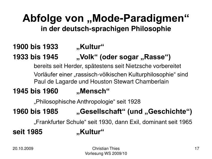 """Abfolge von """"Mode-Paradigmen"""""""