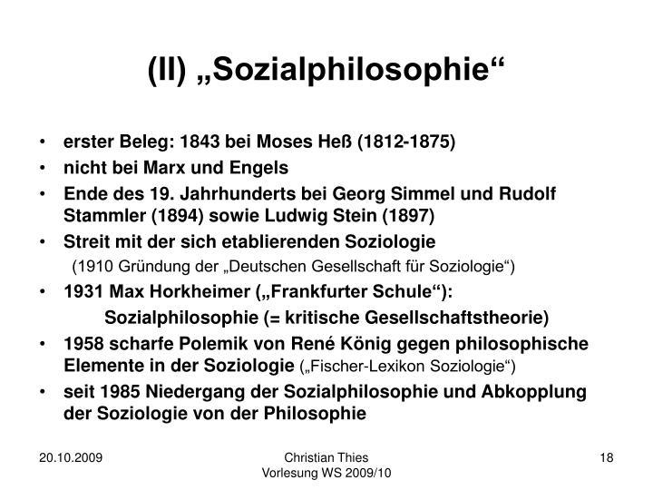 "(II) ""Sozialphilosophie"""