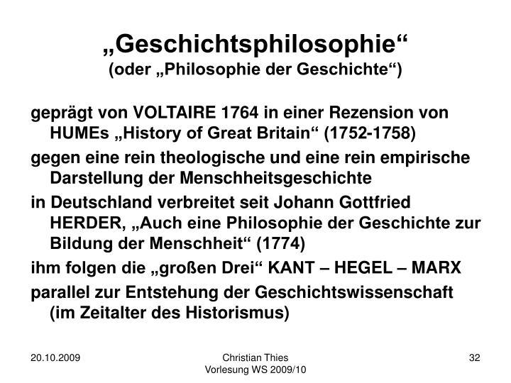 """""""Geschichtsphilosophie"""""""