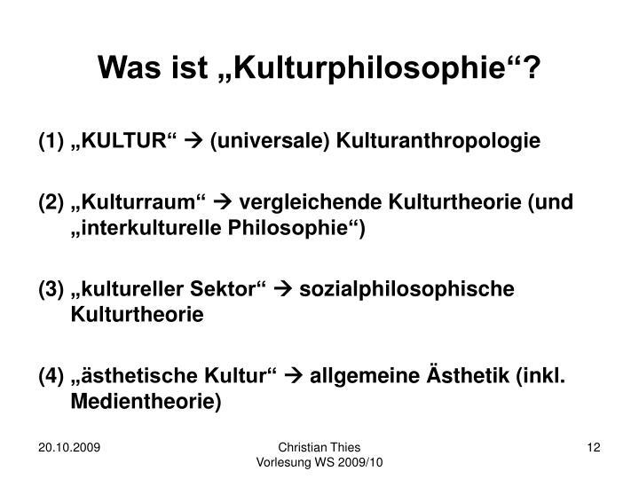 """Was ist """"Kulturphilosophie""""?"""