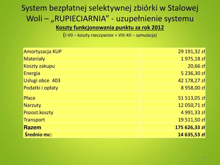 """System bezpłatnej selektywnej zbiórki w Stalowej Woli – """"RUPIECIARNIA"""" - uzupełnienie systemu"""