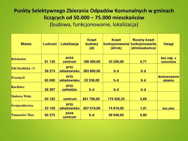 Punkty Selektywnego Zbierania Odpadów Komunalnych w gminach  liczących od 50.000 – 75.000 mieszkańców