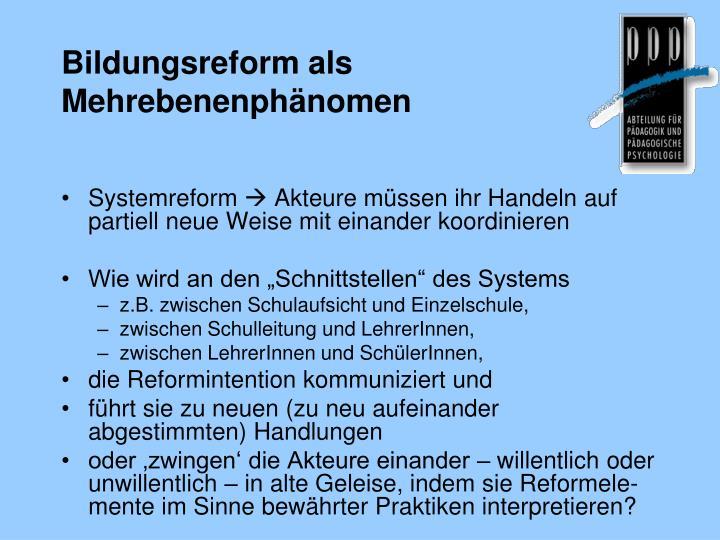 Bildungsreform als Mehrebenenphänomen