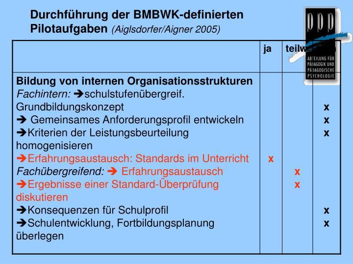 Durchführung der BMBWK-definierten Pilotaufgaben