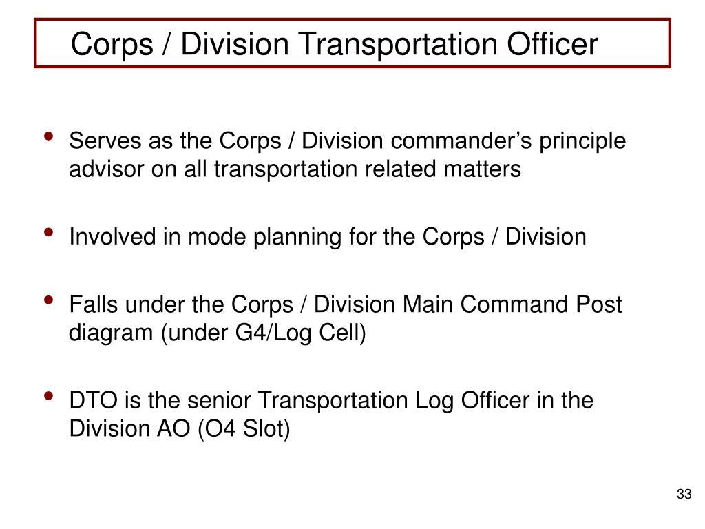 Corps / Division Transportation Officer