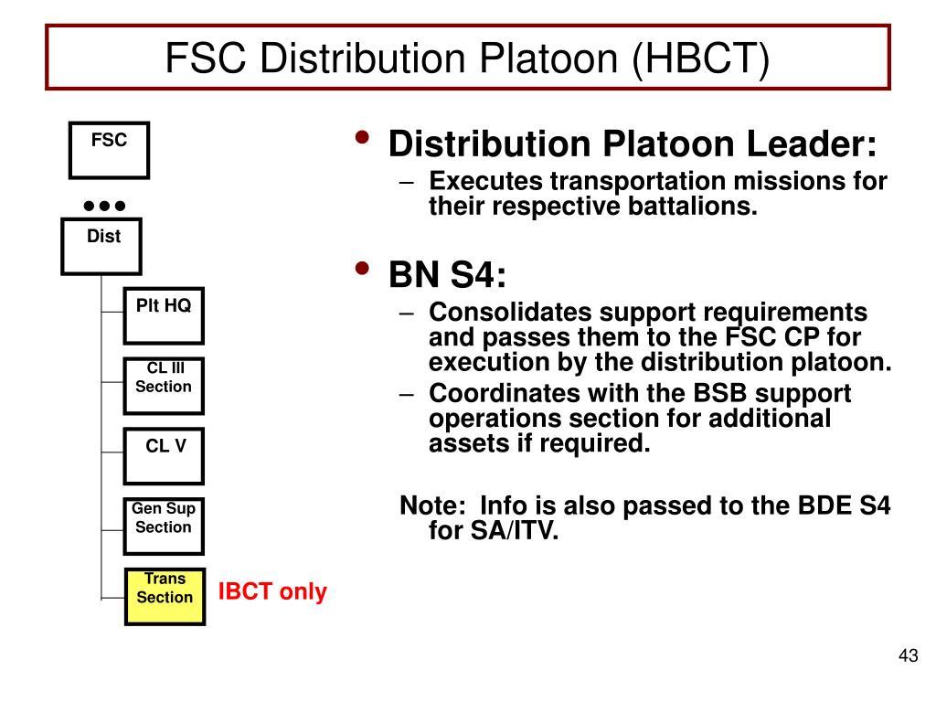 FSC Distribution Platoon (HBCT)