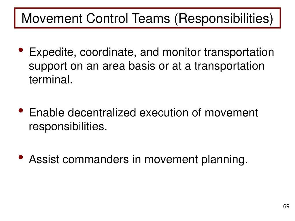 Movement Control Teams (Responsibilities)