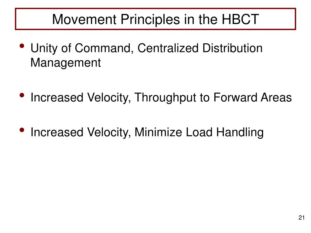 Movement Principles in the HBCT