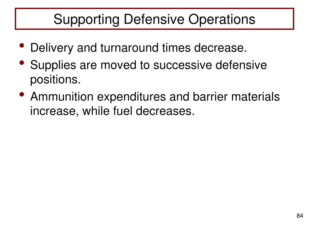 Supporting Defensive Operations