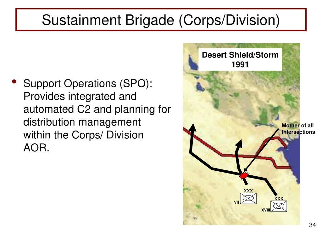 Support Operations (SPO):  Provides integrated and automated C2 and planning for distribution management within the Corps/ Division AOR.