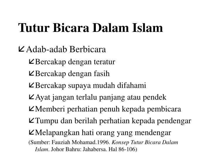Tutur Bicara Dalam Islam