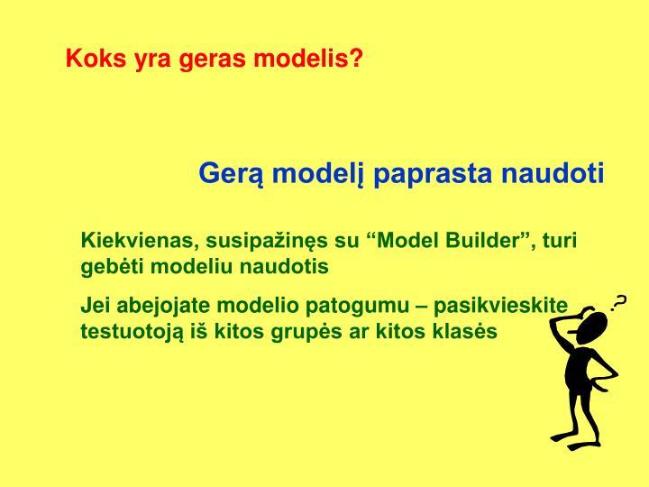 Koks yra geras modelis?