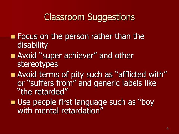 Classroom Suggestions
