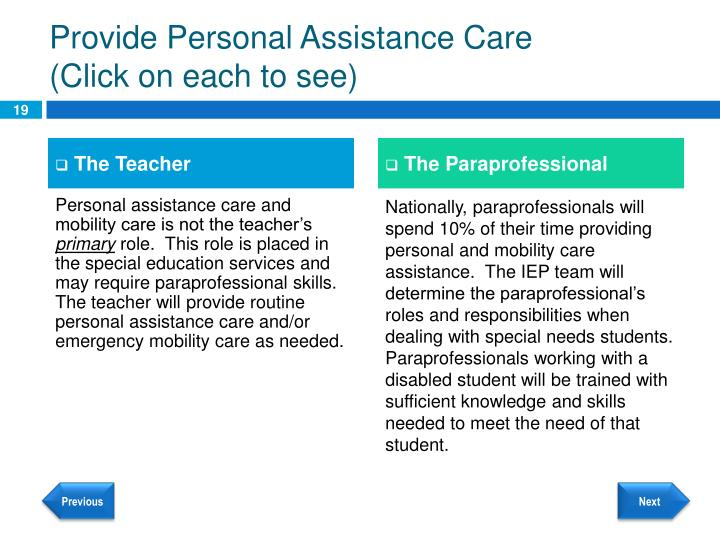 Provide Personal Assistance Care