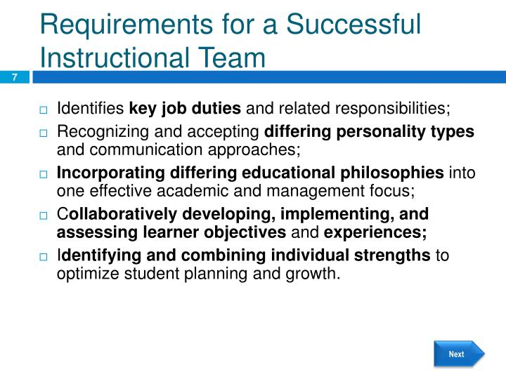 Requirements for a Successful Instructional Team
