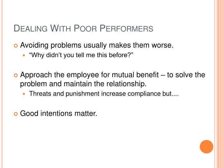 Dealing With Poor Performers
