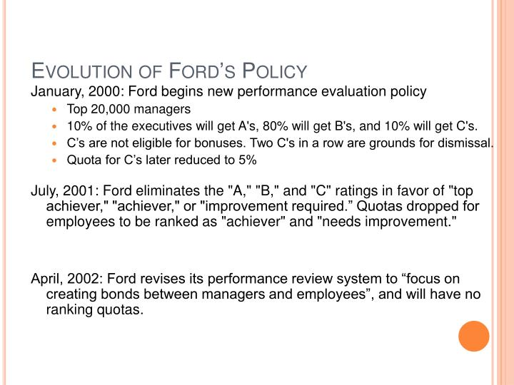 Evolution of Ford's Policy