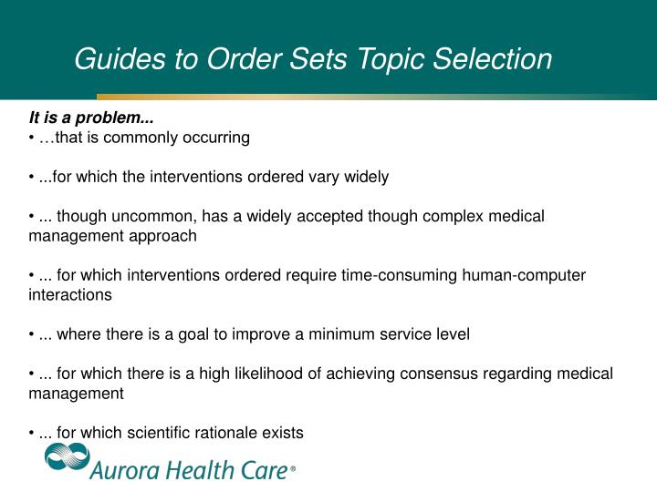 Guides to Order Sets Topic Selection