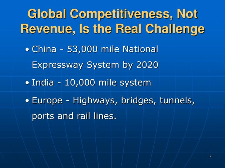 Global competitiveness not revenue is the real challenge