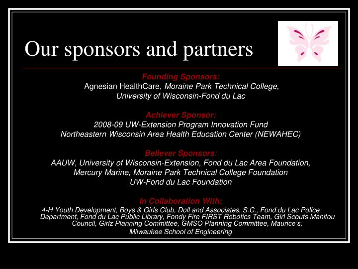 Our sponsors and partners