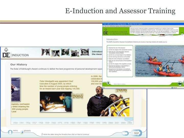 E-Induction and Assessor Training