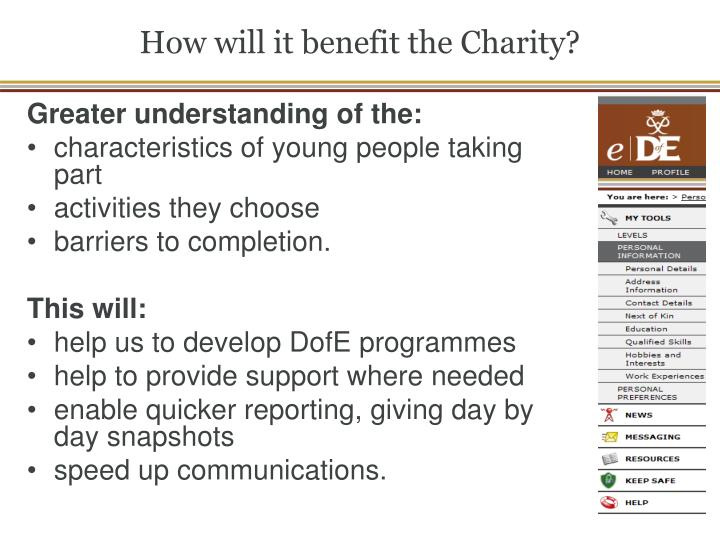 How will it benefit the Charity?