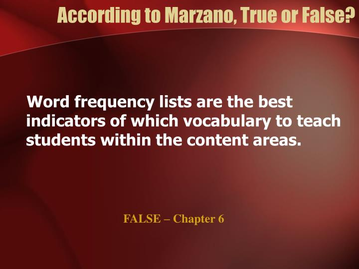 According to Marzano, True or False?