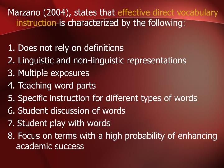Marzano (2004), states that