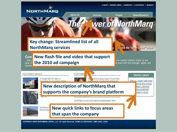 Key change: Streamlined list of all NorthMarq services