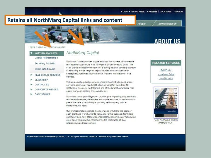 Retains all NorthMarq Capital links and content