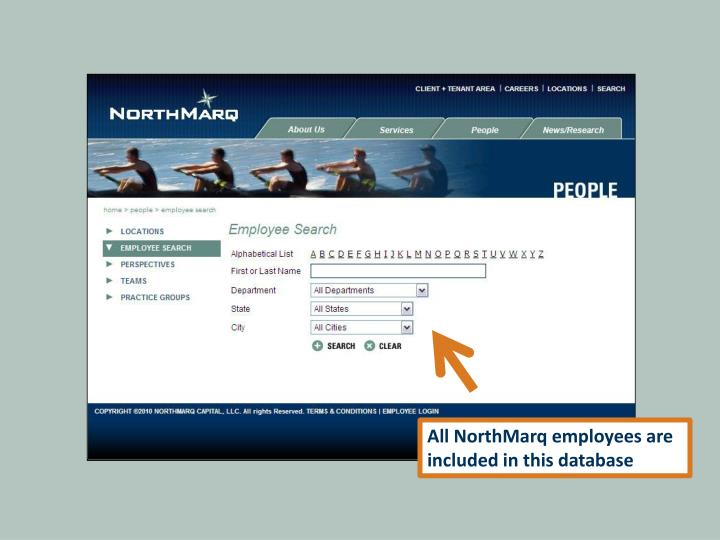 All NorthMarq employees are included in this database