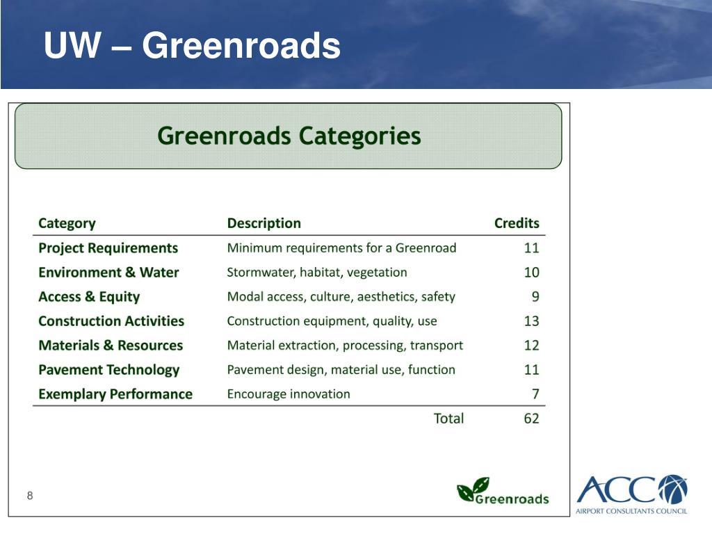 UW – Greenroads