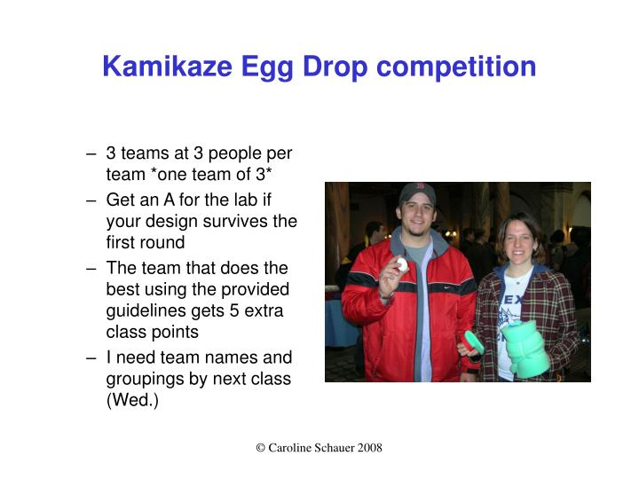 Kamikaze Egg Drop competition