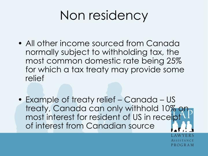 Non residency
