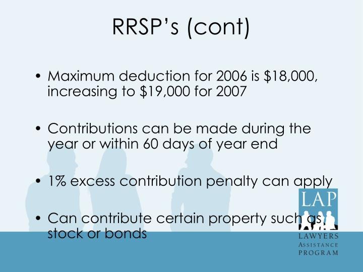 RRSP's (cont)