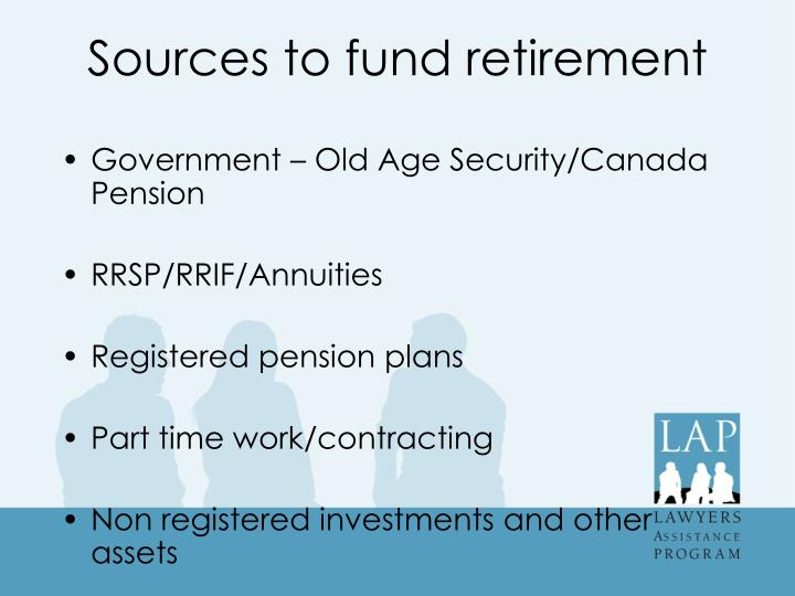 Sources to fund retirement