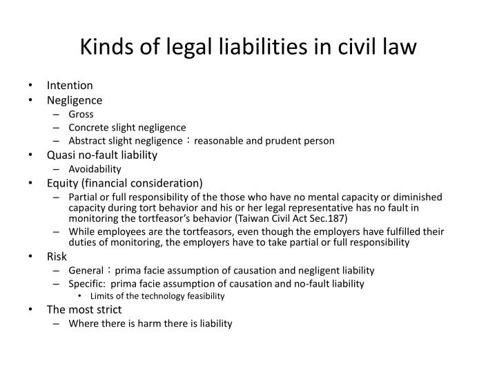 Kinds of legal liabilities in civil law