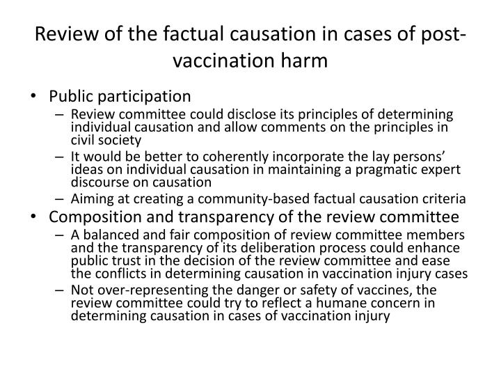 Review of the factual causation in cases of post-vaccination harm