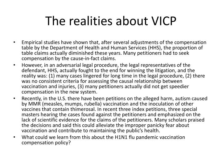 The realities about VICP