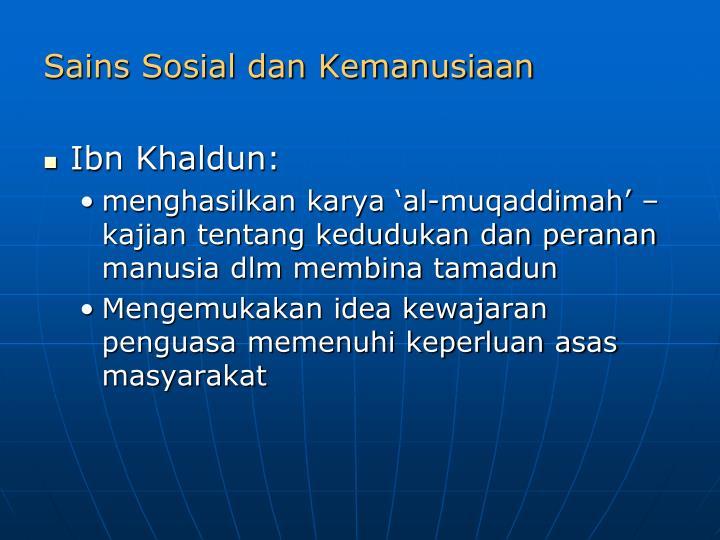 Sains Sosial dan Kemanusiaan