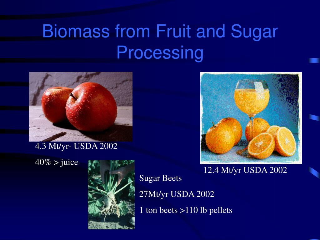 Biomass from Fruit and Sugar Processing