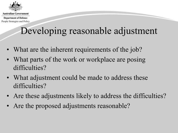 Developing reasonable adjustment