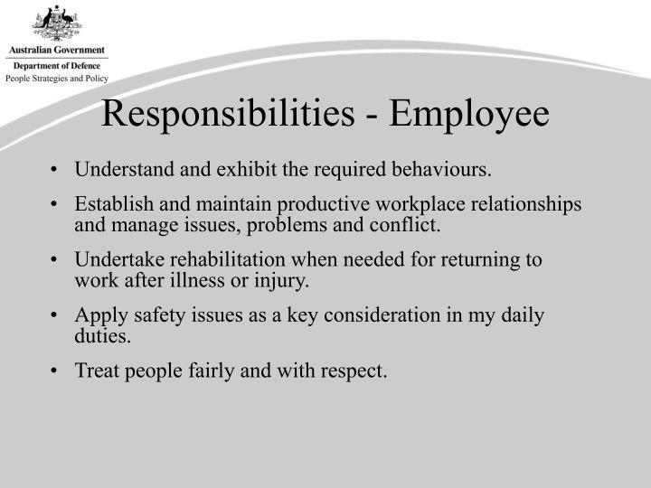 Responsibilities - Employee