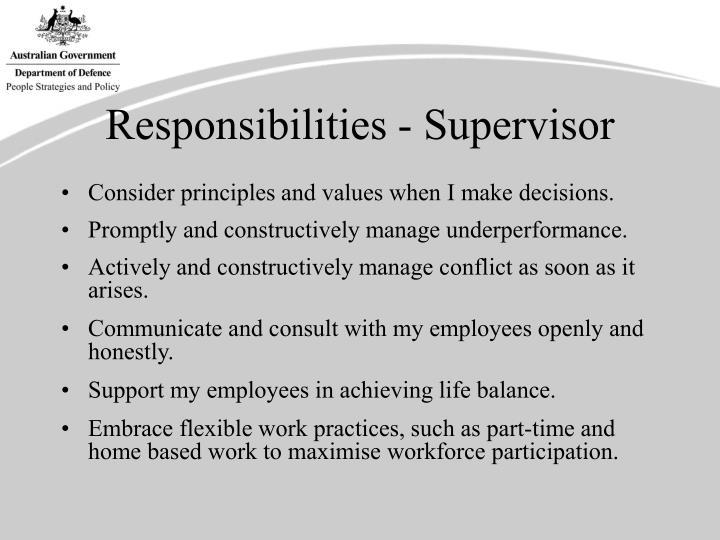 Responsibilities - Supervisor