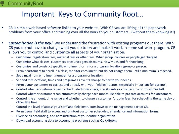 Important keys to community root