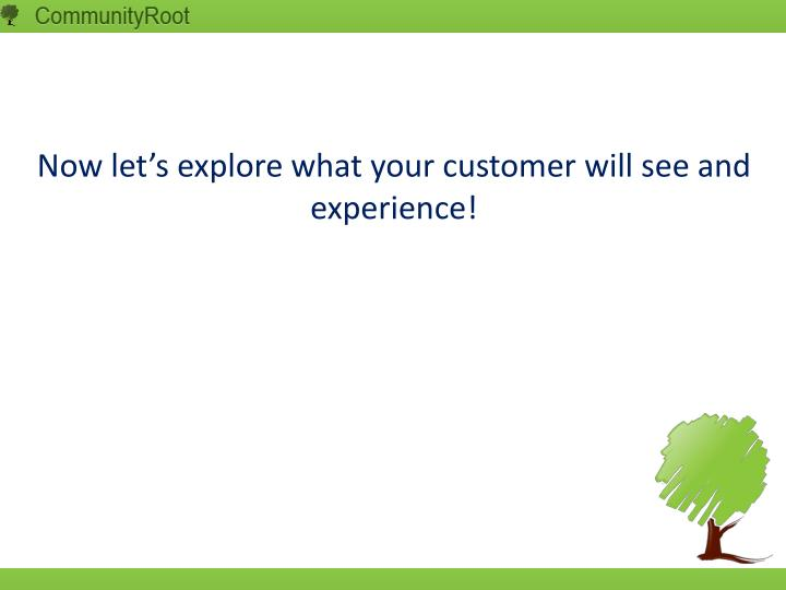 Now let's explore what your customer will see and experience!