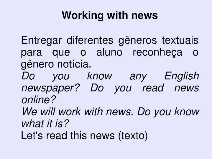 Working with news