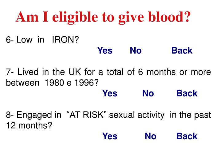 Am I eligible to give blood?