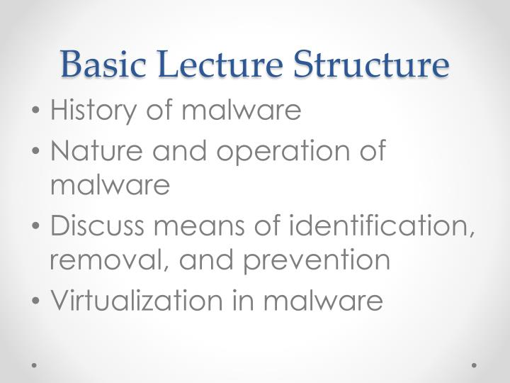 Basic Lecture Structure